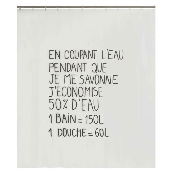 Rideau de douche à message (Noir Blanc)