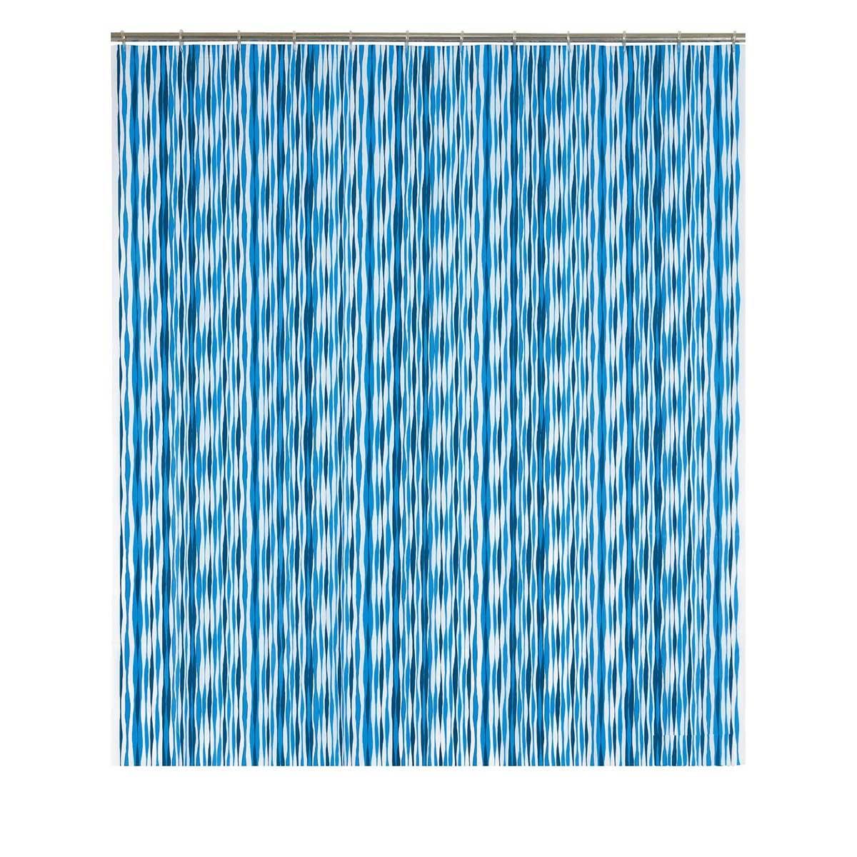 Rideau de douche à rayures ondulées bleues (Bleu)