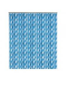 Rideau de douche à rayures ondulées bleues