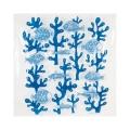 Rideau de douche en vinyle algues et poissons bleus (Bleu)