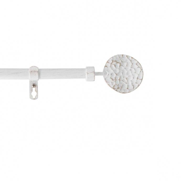 Kit de tringle déco avec embouts ronds martelés (Blanc)