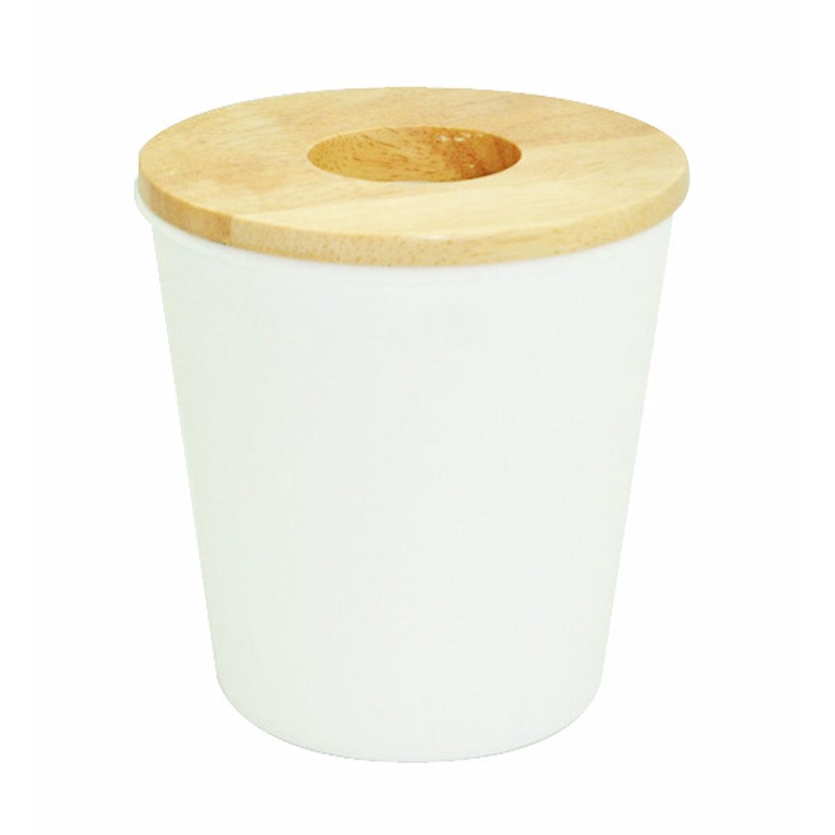 Mini poubelle blanche avec du bois (Blanc)