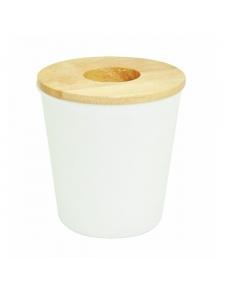 Mini poubelle blanche avec du bois