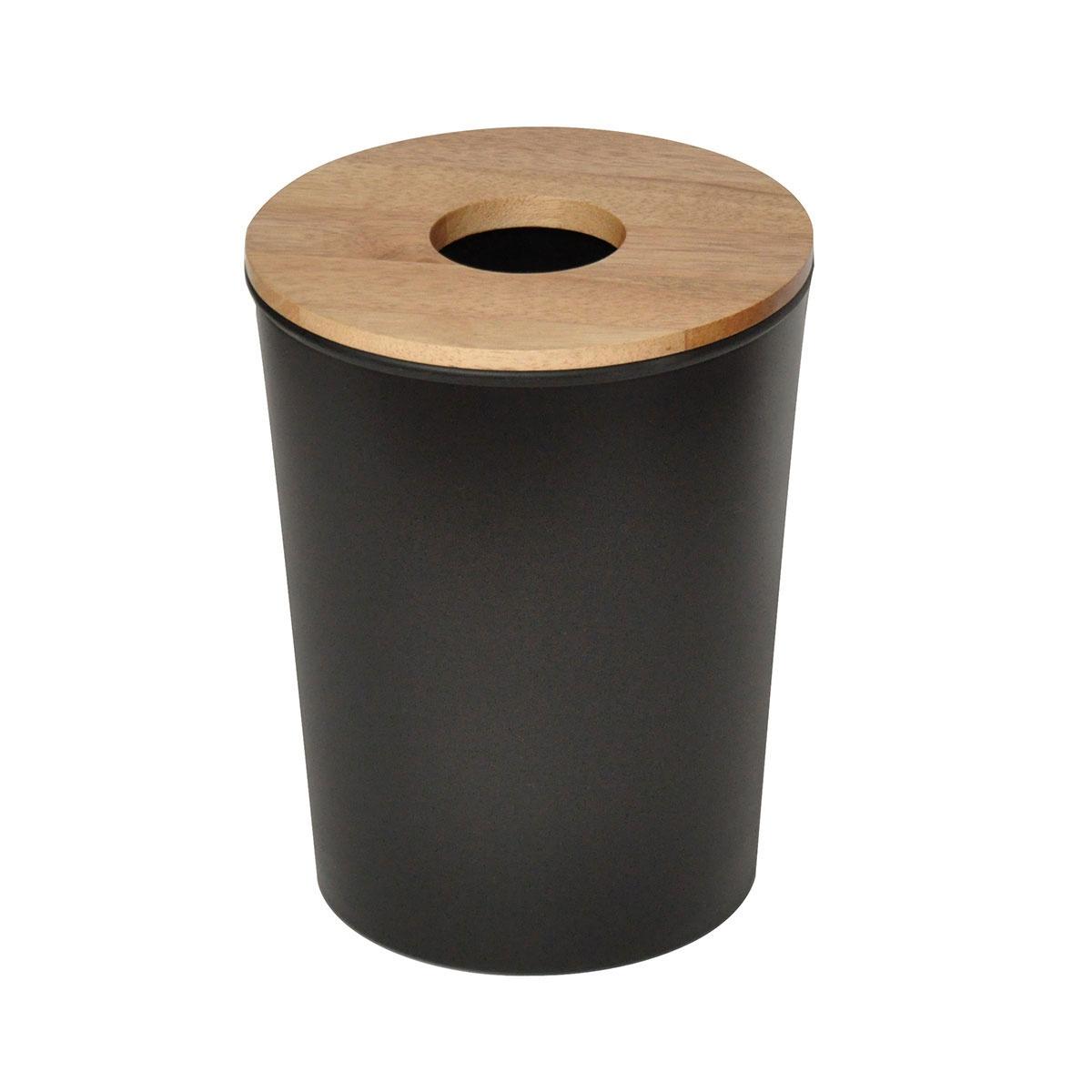 Mini poubelle en ébonite et bois (Noir)