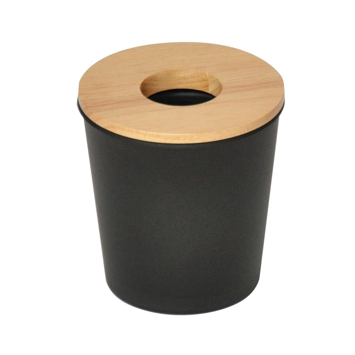 Poubelle en ébonite et bois (Noir)