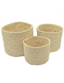 Set de 3 paniers ronds en fibre de mais