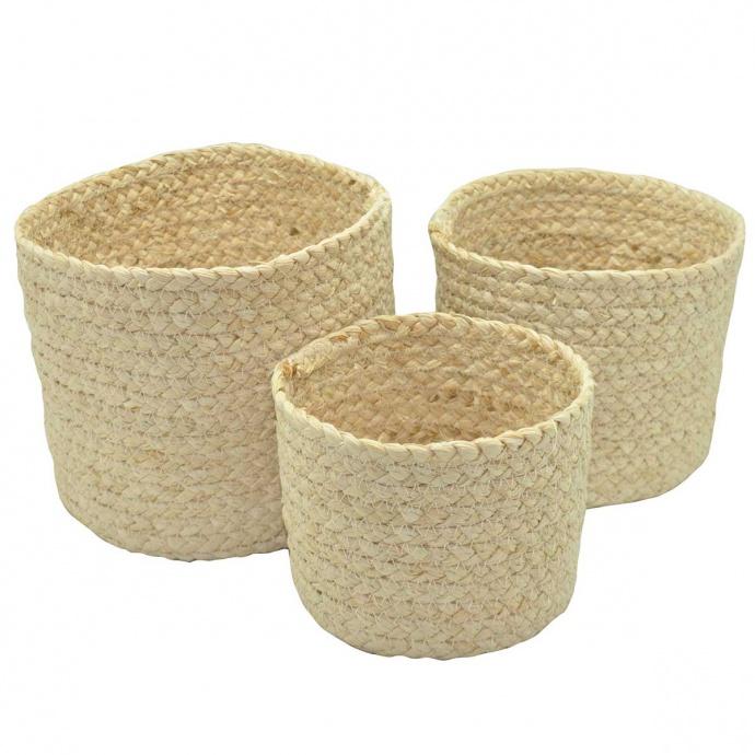 Set de 3 paniers ronds en fibre de mais (Beige)
