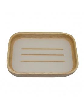 Porte savon en bois à intérieur blanc