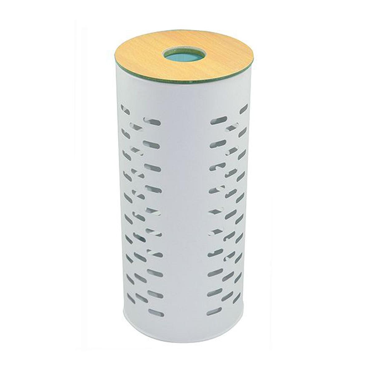 Stockeur de papier toilette en métal (Blanc et Bois)