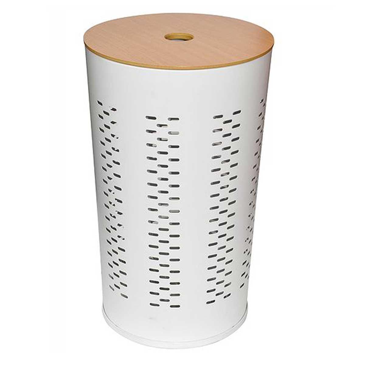 Lingère design en métal et bois (Blanc et Bois)