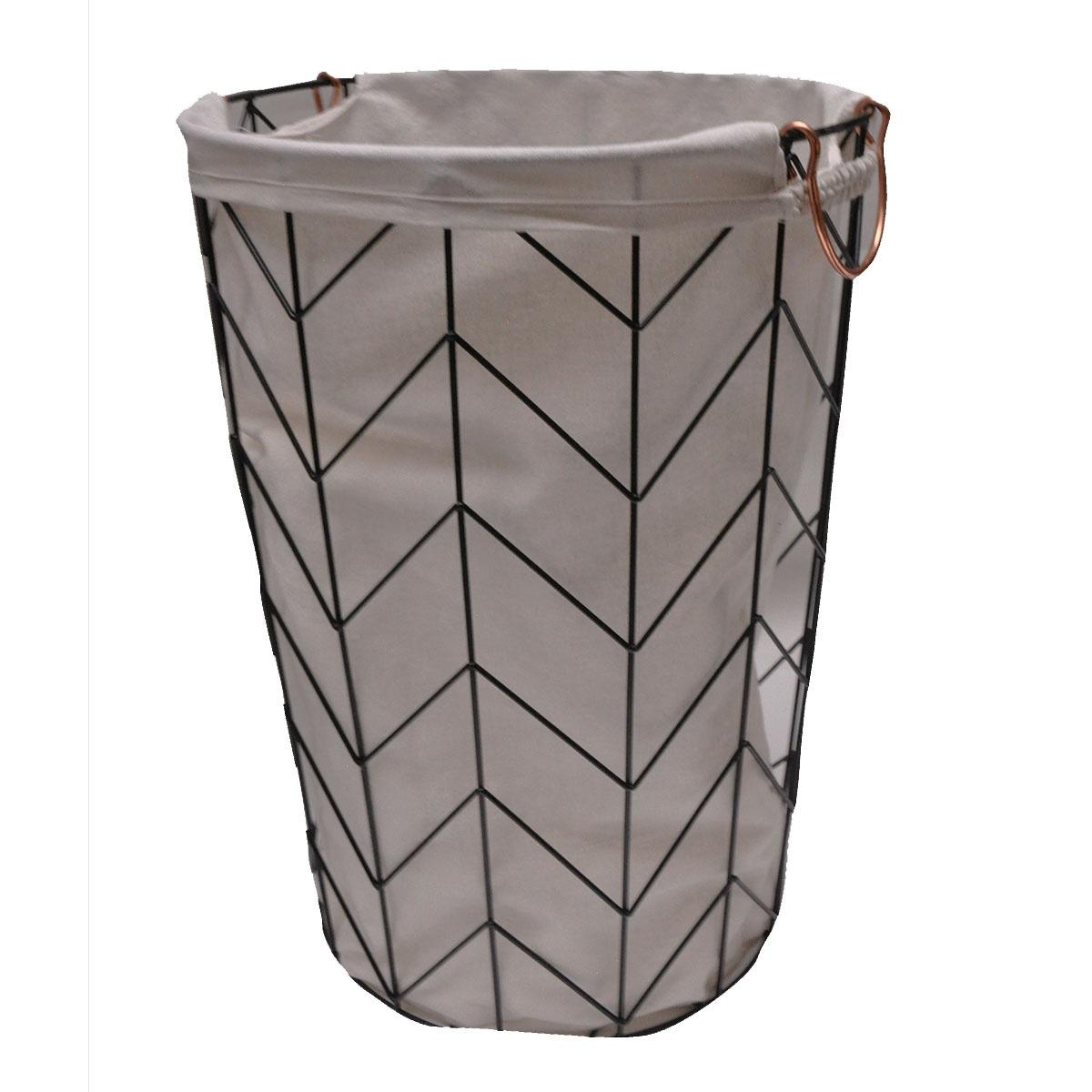 Lingère en métal géométrique avec sac en tissu (Noir et Cuivre)