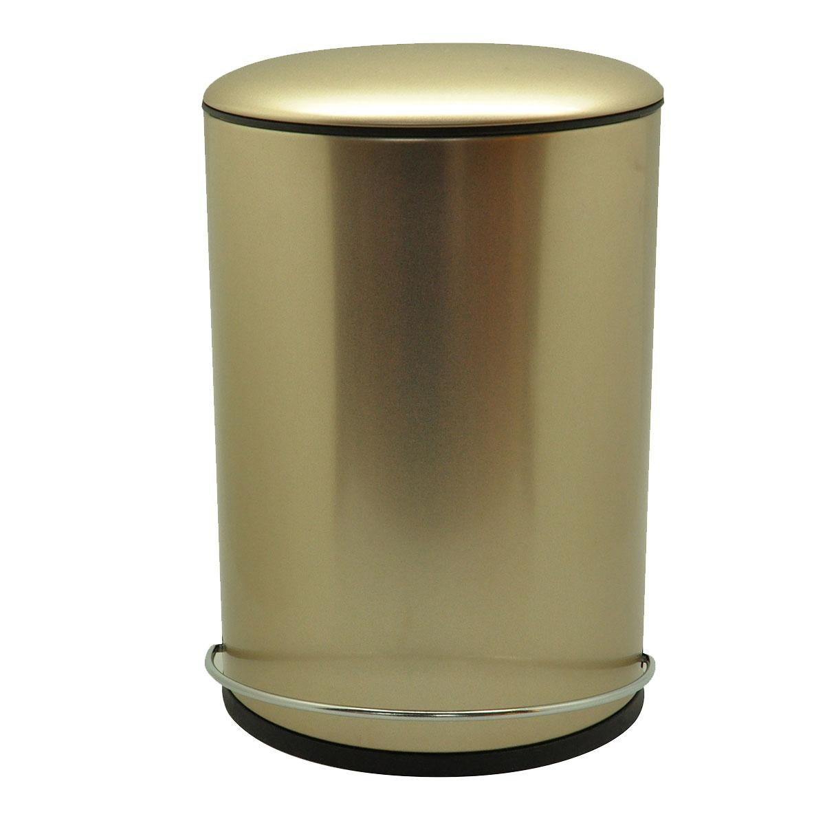 Poubelle ronde en métal à pédale (Champagne)