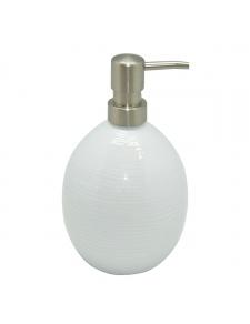 Distributeur de savon en porcelaine rayé