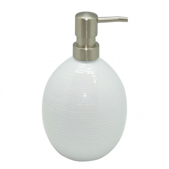 Distributeur de savon en porcelaine rayé (Blanc)