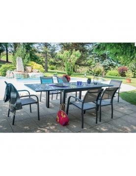 Salon de jardin avec rallonge et fauteuils
