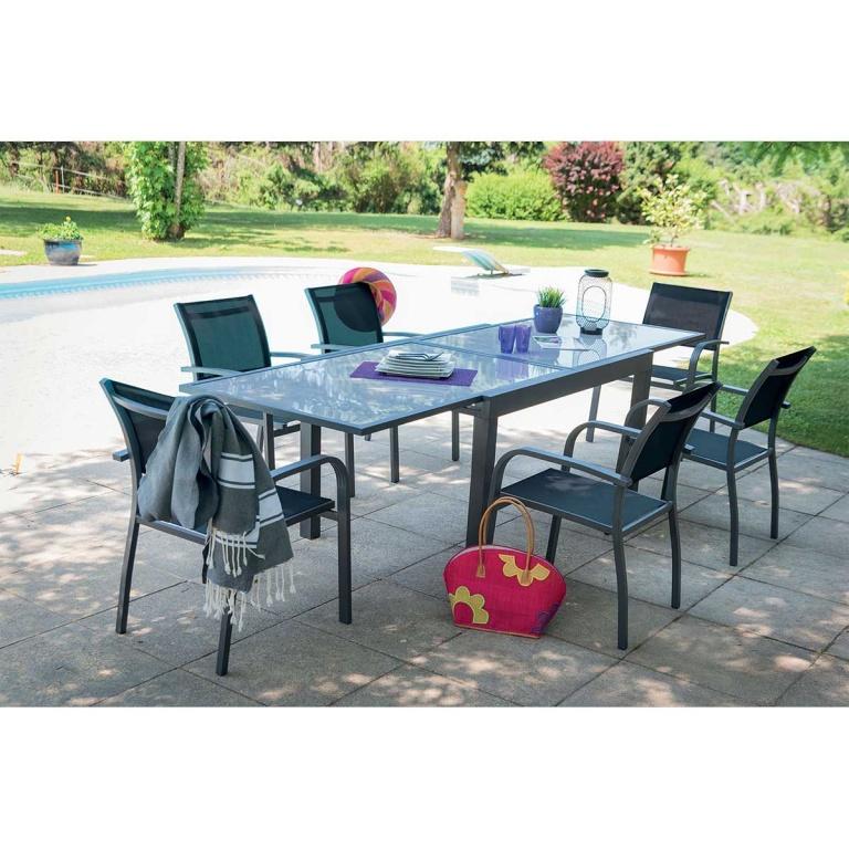 Salon de jardin avec rallonge et fauteuils , (Gris Perle ...