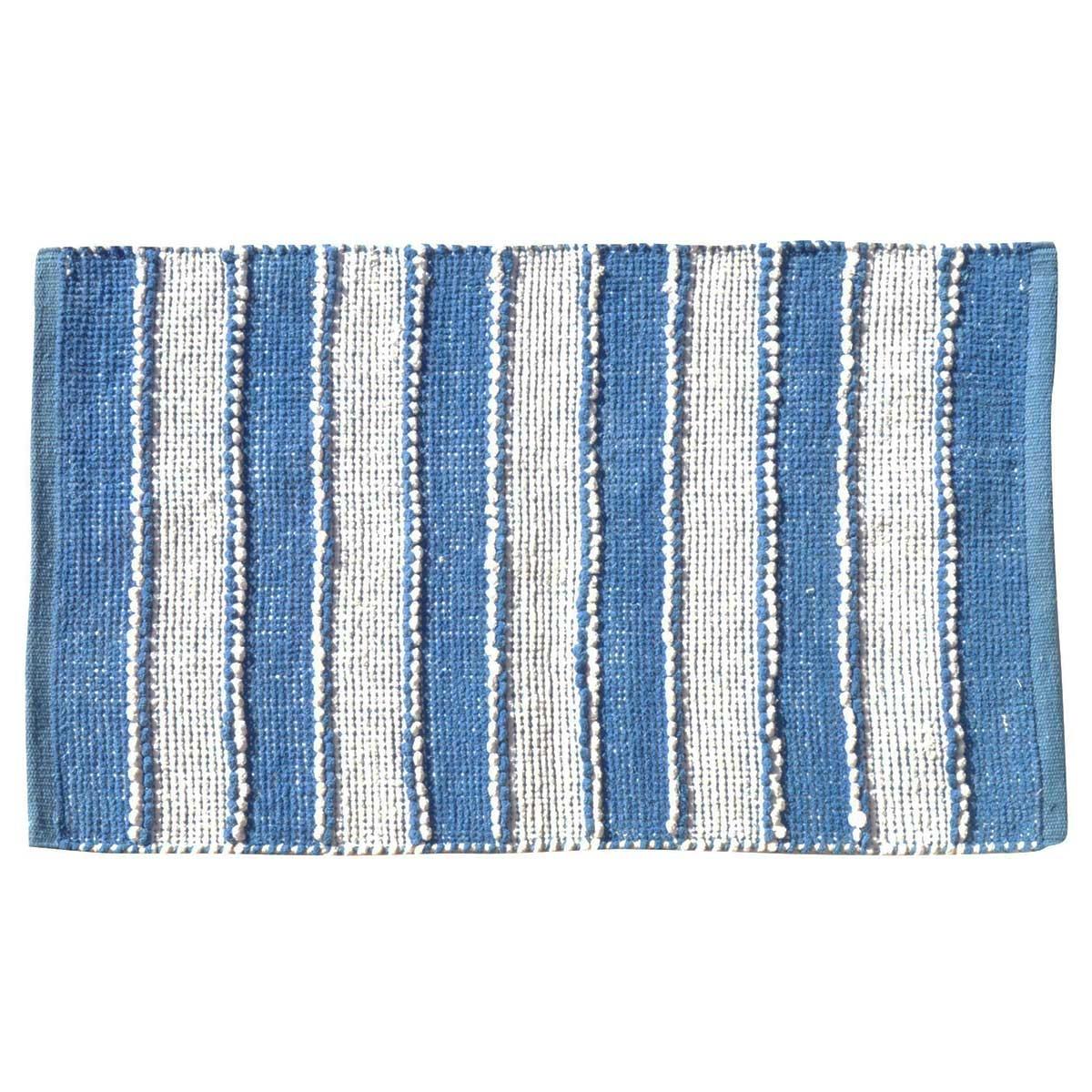 Tapis de bain à rayures verticales (Blanc Bleu)