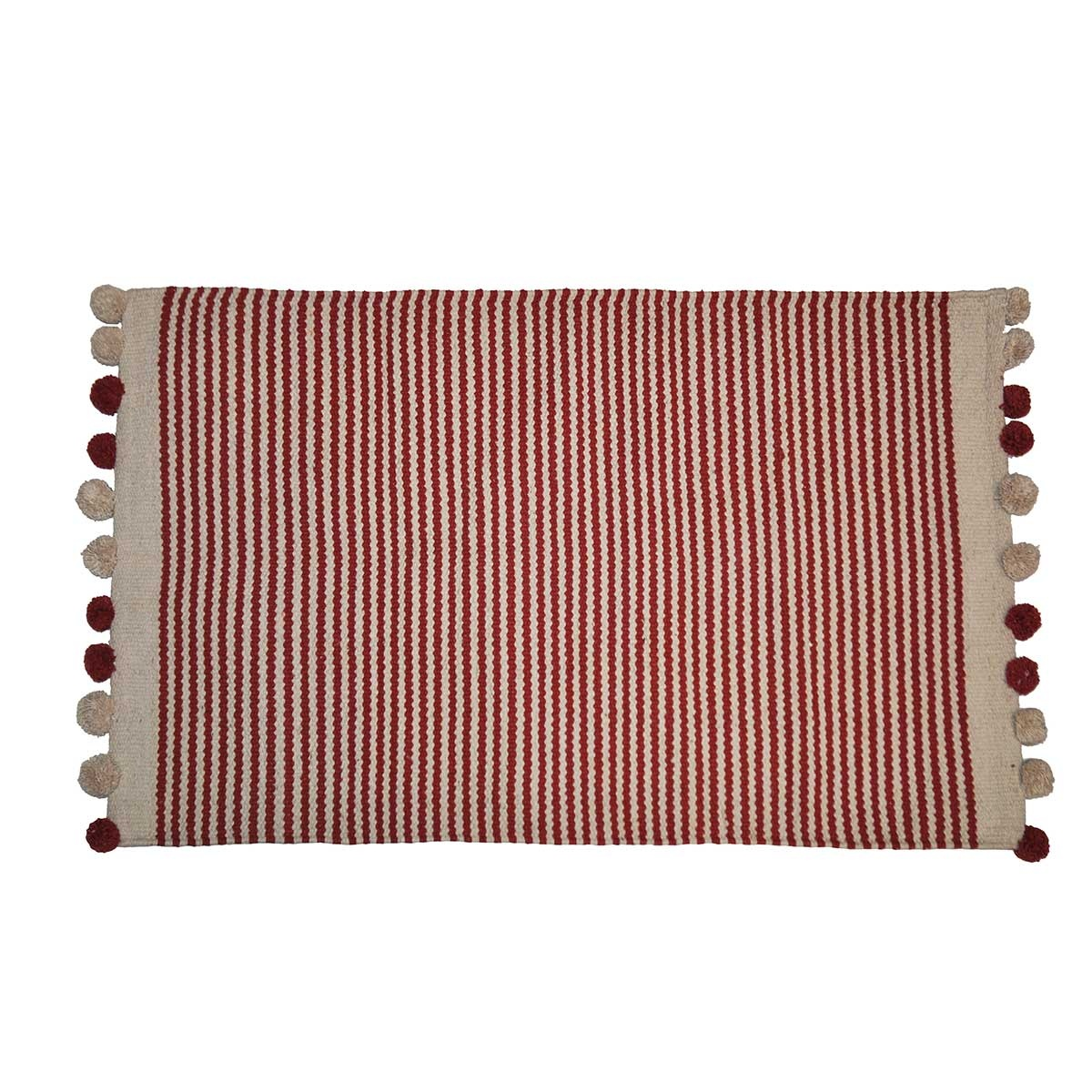 Tapis de bain à fines rayures et pompons bicolores (Terracotta et Beige)