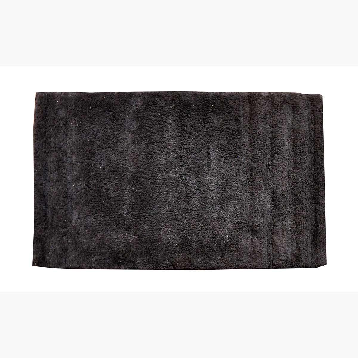 Tapis de bain uni en coton (Noir)
