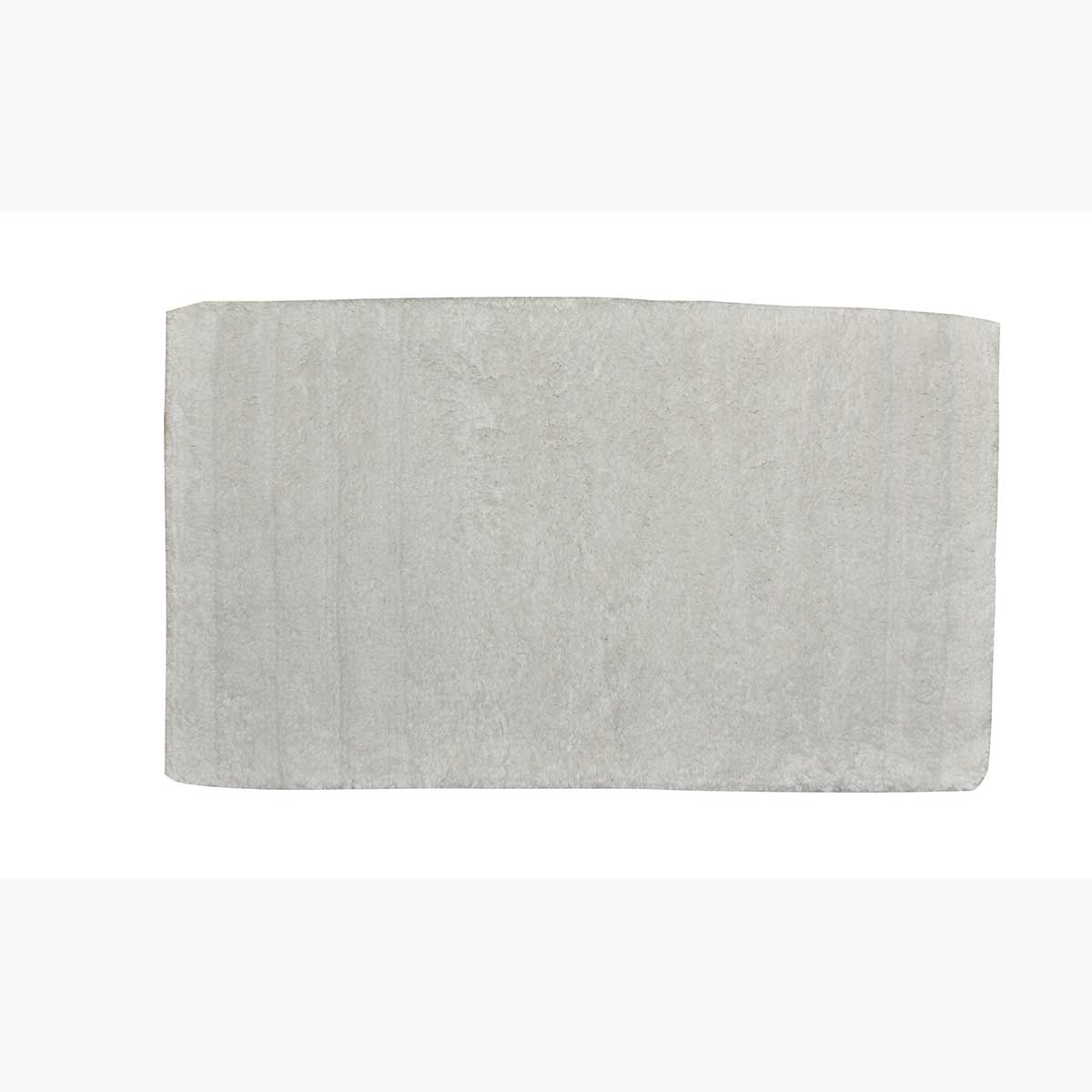 Tapis de bain uni en coton (Blanc)