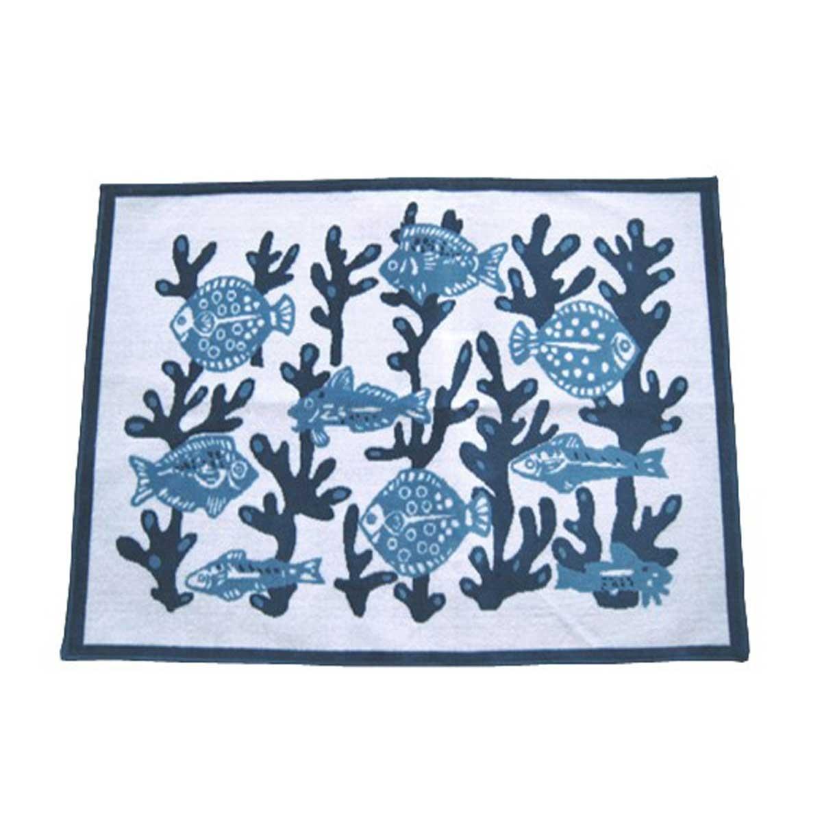 Tapis velours algues et poissons bleus (Bleu)