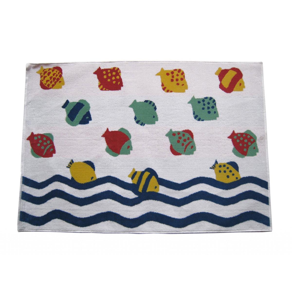 Tapis de bain velours à poissons colorés ( Multicolore)