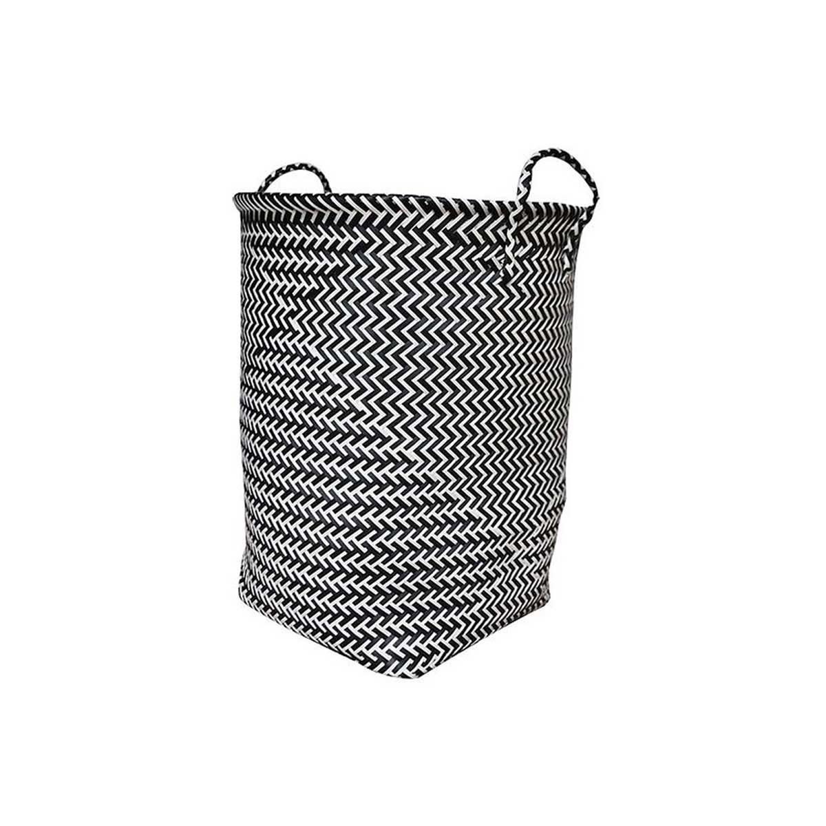 Panier à linge graphique noir et balnc (Noir / Blanc)
