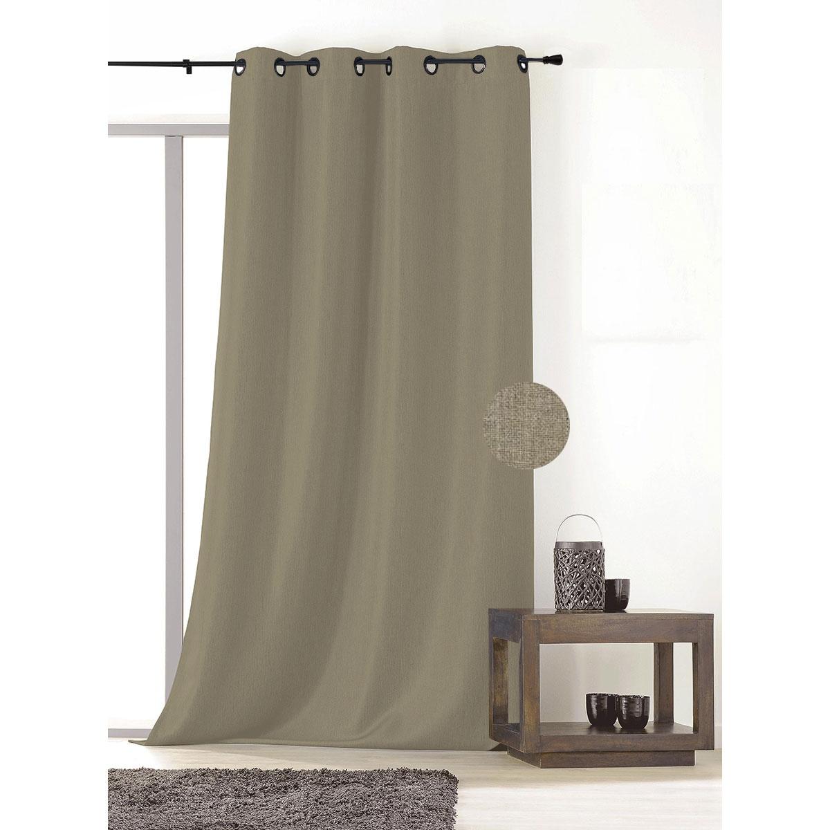 rideau non feu m1 et occultant effet faux uni taupe gris fonc gris clair sable