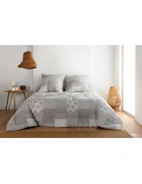 Colcha y funda de almohada pachwork gris