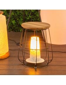 Lampe de table à poser en acier et bois