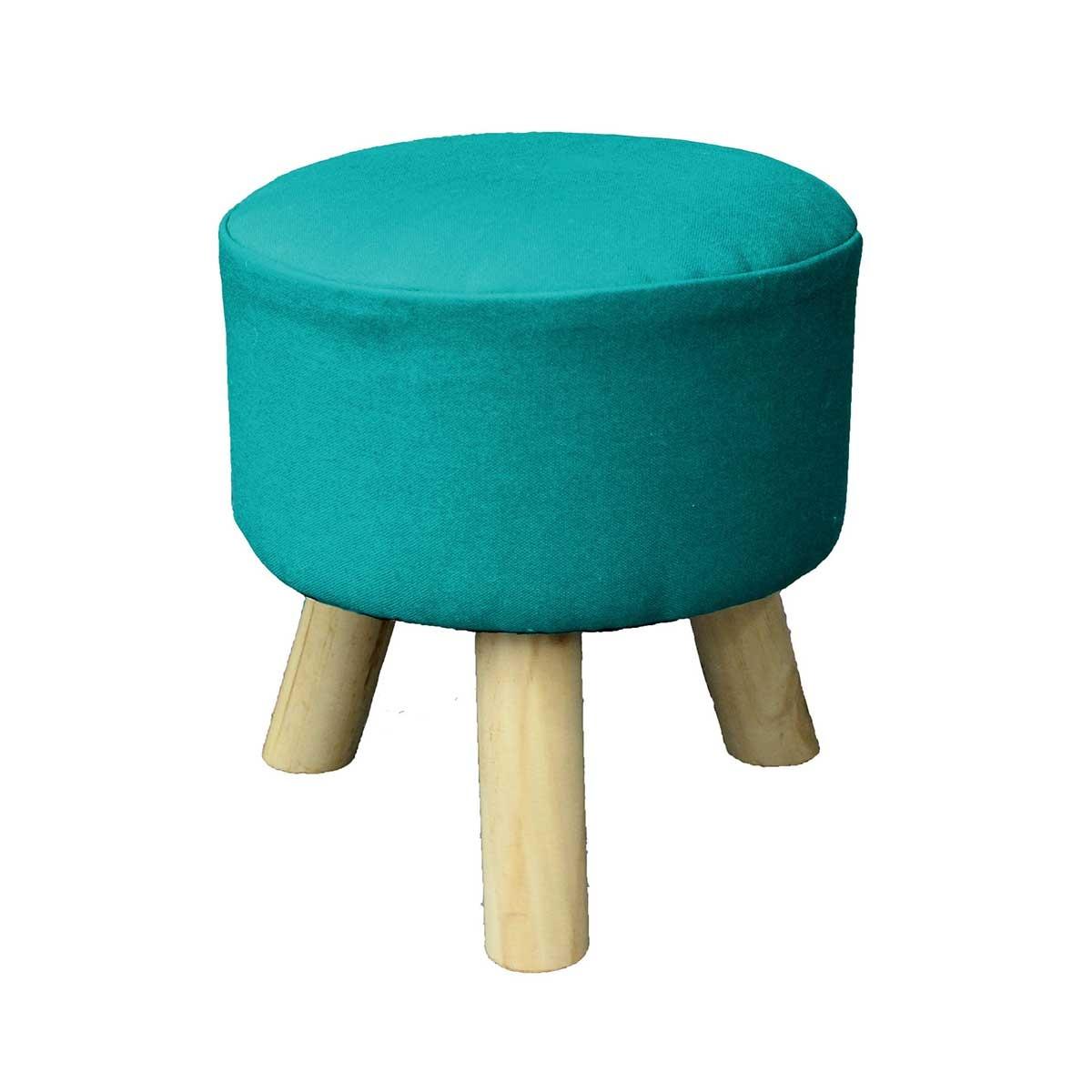 Tabouret en coton uni coloré (Bleu)