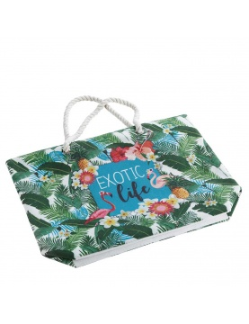 Sac de plage impression flamant rose tropical