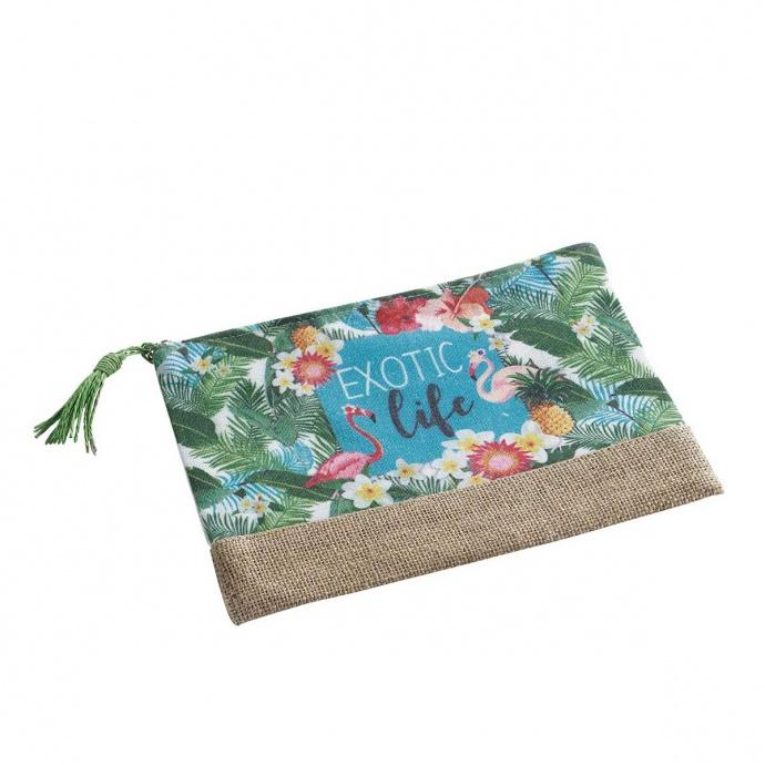 Pochette imprimée flamant rose tropical ( Multicolore)