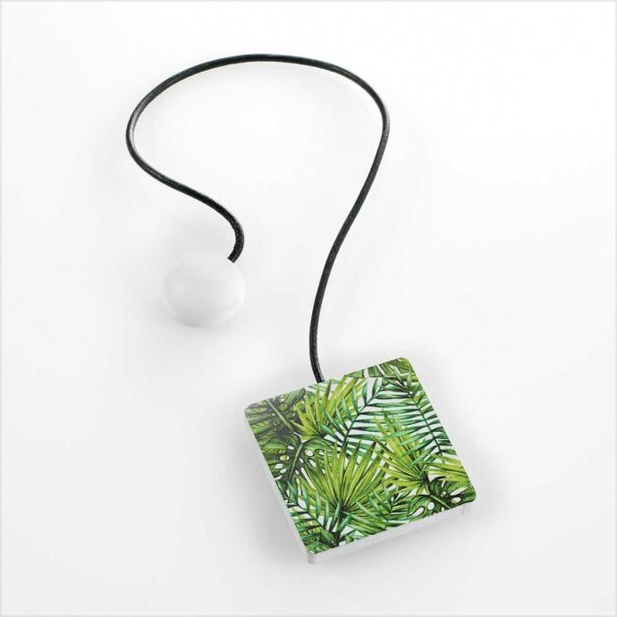 Embrasse aimantée carrée imprimée feuillages exotiques (Vert)