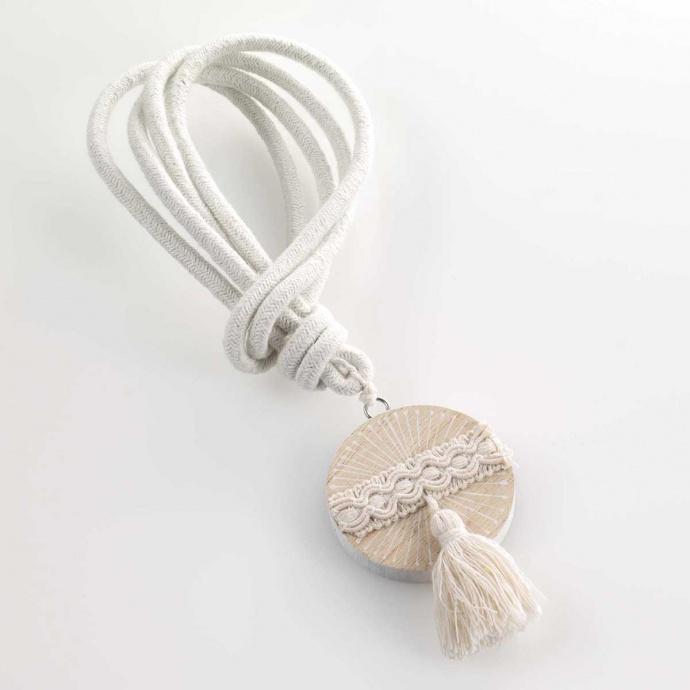 Embrasse à cordon et bois imprimé (Blanc)