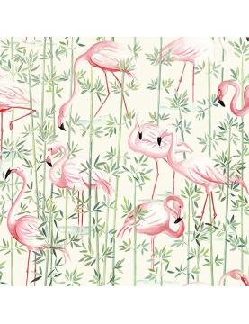 Tissu en coton imprimé flamant rose