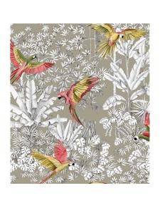 Tissu imprimé jungle et perroquet