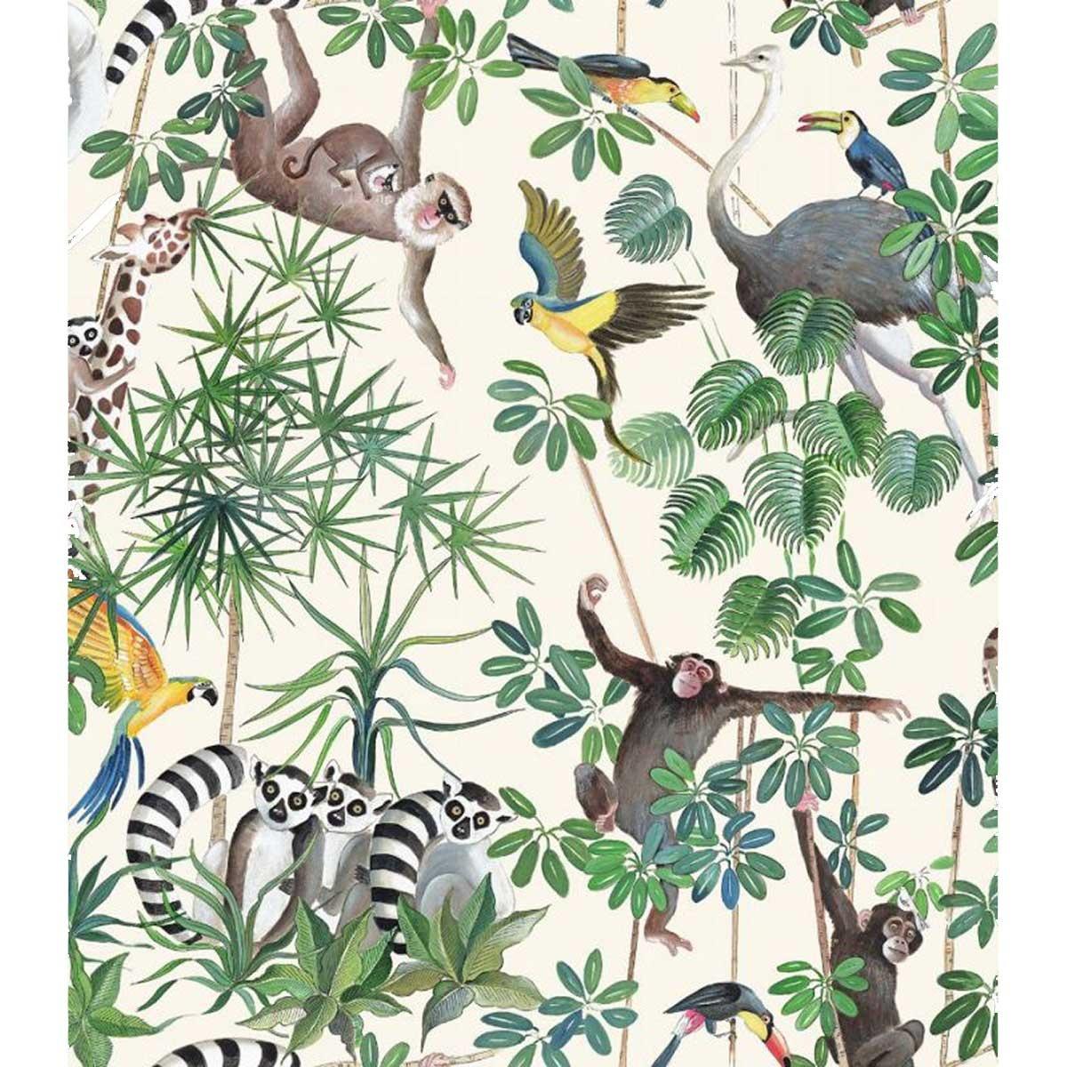 Tissu imprimé jungle et animaux