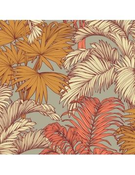 Tissu enduit imprimé feuilles de cocotier