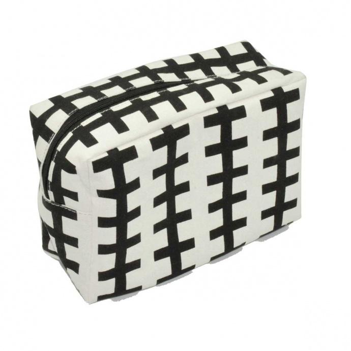 Trousse de toilette à motifs géométriques (Noir Blanc)