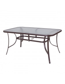 Table ovale en acier marron et verre trempé granité