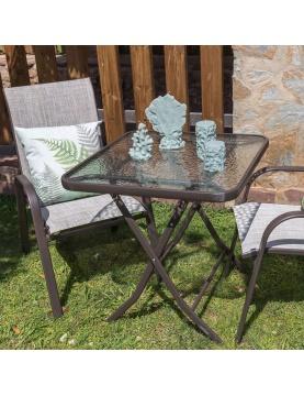 Table pliante en acier marron et verre trempé granité