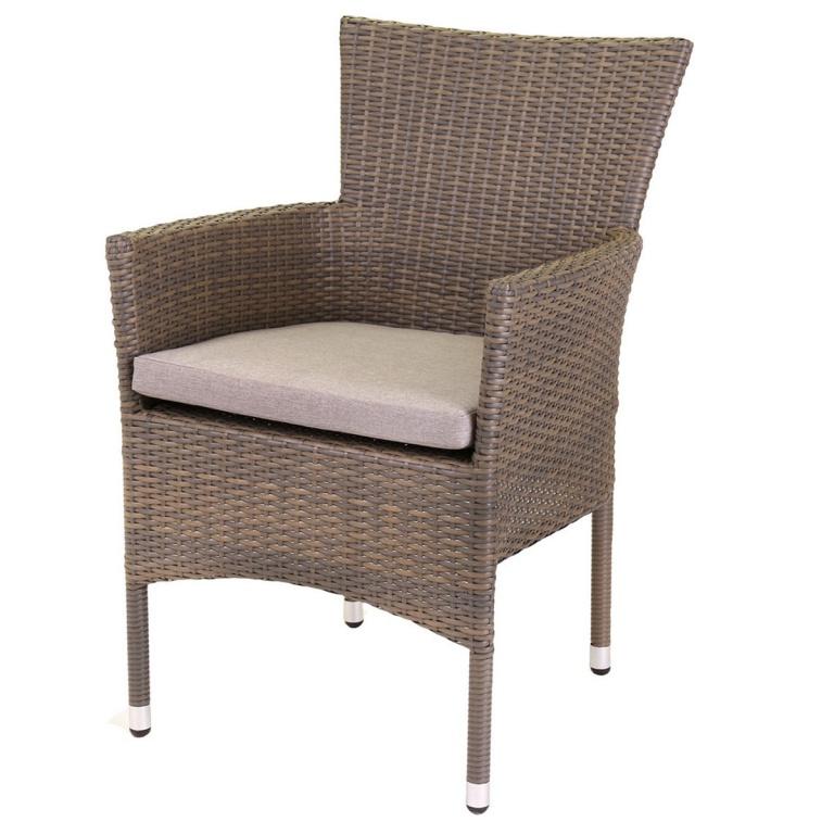 Lot de 2 fauteuils empilables en rotin taupe, (Blanc