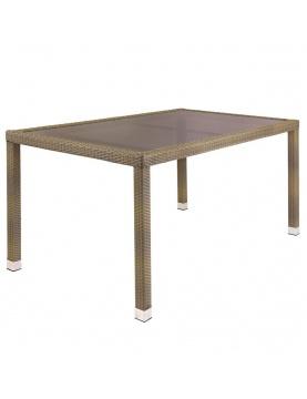 Table de jardin en rotin et verre