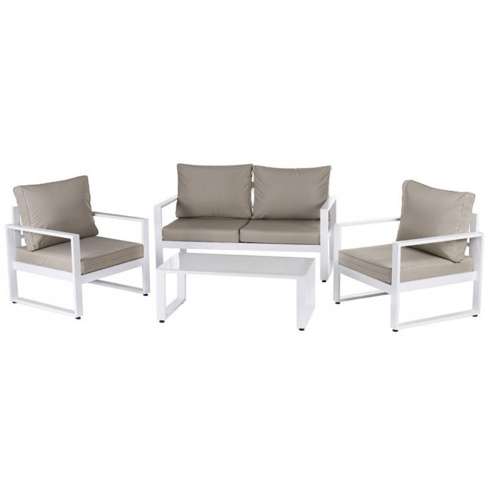 Salon détente en aluminium blanc (Taupe/Blanc)