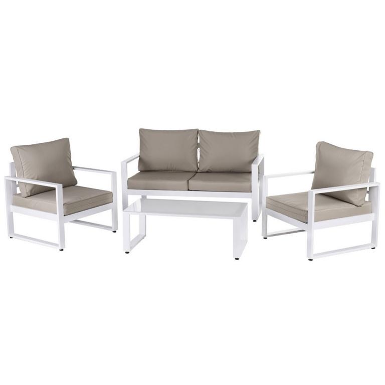 Salon détente en aluminium blanc, (Taupe/Blanc), (Gris/Blanc ...