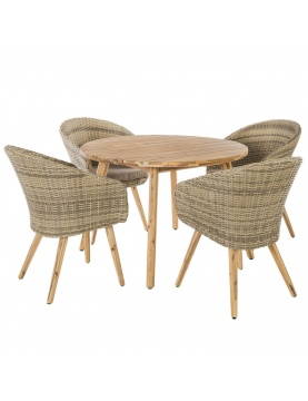 Salon de jardin avec fauteuils en rotin et acacia