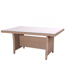 Table en rotin avec plateau en verre beige