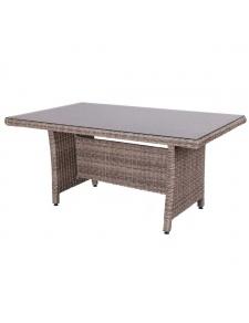 Table en rotin avec plateau en verre gris