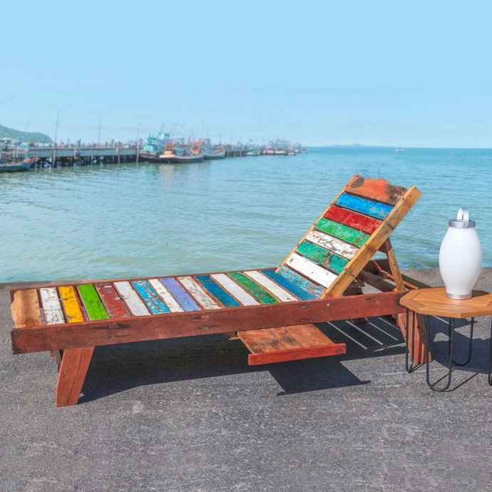 Chaise longue en teck vieilli et coloré ( Multicolore)